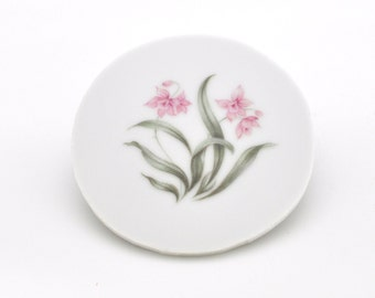 Broken China Mosaic Tile  - Pink Orchid - Focal - Romantic - Round