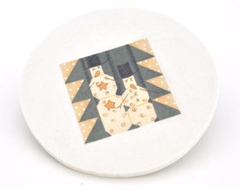 Mosaic Tile  - Broken China Tiles - Snowmen - Quilt - Round Focal