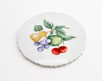 Broken China Mosaic Tiles - Focal Tile - Fruit - Round - Broken Plate Art - Mosaic Art Work