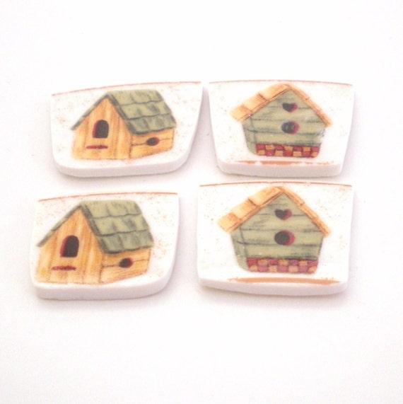 Broken China Mosaic Tiles - Birdhouse Focal - Cabochons - Set of 4