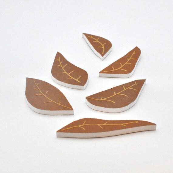 Broken China Mosaic Tiles Supplies - Handpainted Brown Leaves - Set of 6 Tiles
