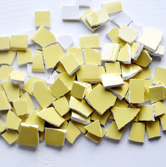 Broken China Mosaic Tiles - Sunny Yellow - Solid Color - Set of 100