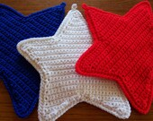 TRIO OF STARS Red, White and Blue  Wall Hangings / Potholders