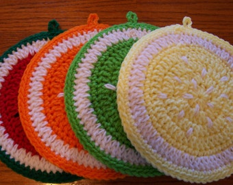 Lemon, Lime, Orange and Watermelon Slices Wall Hanging / Potholders