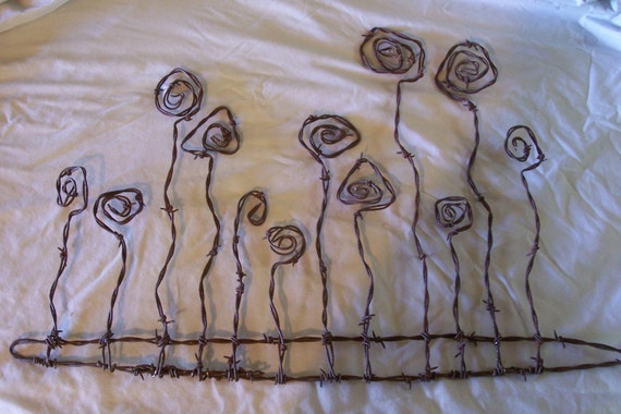 Barbed wire art wild flowers wall hanging by southwestcrafts