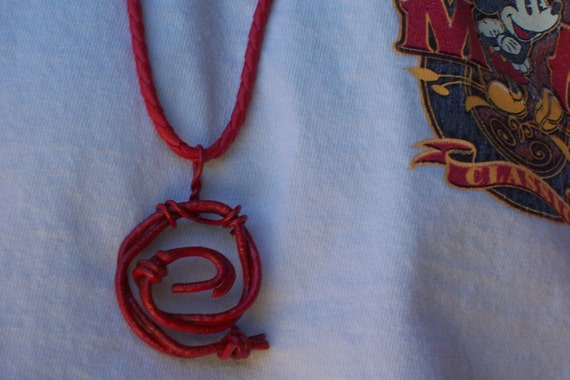 Red Barbed Wire Spiral Necklace Lenny Mental Punk Rock Jewelry