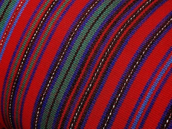 Guatemalan cotton fabric per yard red stripe. by ...
