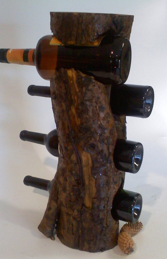 Rustic wooden wine rack with custom engraving - Wine rack shaped like wine bottle ...