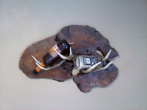 Mounted Antlers  Whiskey Bottle Holder