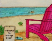Custom Commission Watercolour - Welcome to Wasaga Beach- reserved listing for Andrew