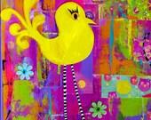 Whimsical Yellow Bird  Colorful Nursery Decor Giclee Print