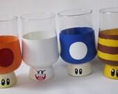 Mario Mushroom Drinking Glasses: Hand Painted Mega, Bee, Boo, and Mini Mushroom Glasses Set of 4