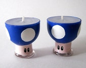 Mario Mini Mushroom  Candle - Vanilla Scented Set of 2 Hand Painted Candles