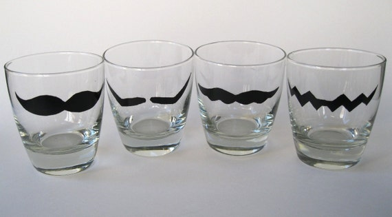 Mario, Wario, Luigi, and Waluigi Mustache Drinking Glass-Set of 4