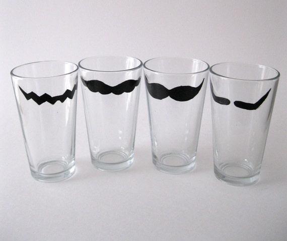 Mario Mustache Glasses: Mario, Wario, Luigi, and Waluigi Mustaches Tall Drinking Glasses