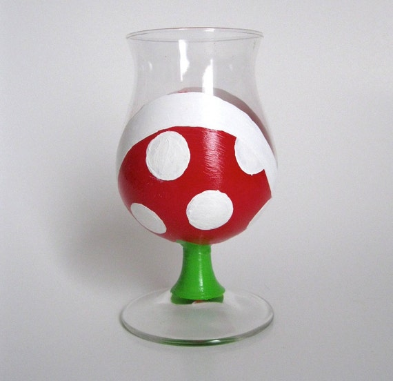 Piranha Plant Champagne Glass - One Hand Painted Mario Inspired Glass