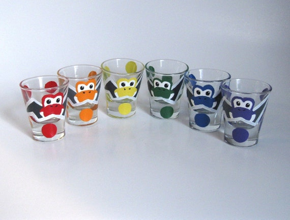 Yoshi Egg Shot Glasses- Set of 6 Rainbow Hand Painted Mario Inspired Glasses