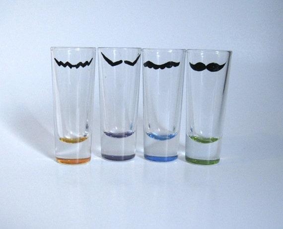 Mustache Shot Glasses: Hand Painted Mario, Wario, Luigi, and Waluigi Mustache Tall Shot Glasses