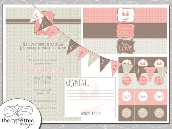 Bridal Shower Invitation Set - Customizable PDF File - Cupcake Toppers, Water bottle Labels and more