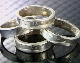 Coin Ring ---- U.S. Washington Quarter ---- (Choose The Year & Ring Size You Want) ---- 90% Silver Coin ----