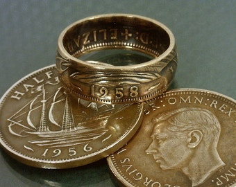 COIN RING  - (( British Half Penny )) - (Choose The Year & Ring Size You Want)