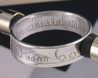 COIN RING - U.S. Barber Quarter Dollar -  (Choose The Year & Ring Size You Want)