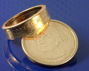 COIN RING - George Washington President Dollar -  (Select The Ring Size You Want)