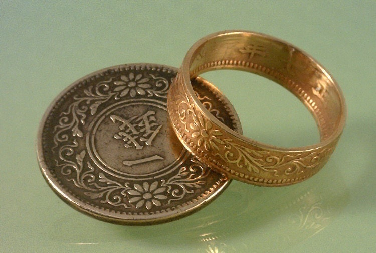 coin ring jewelry pre war japanese 1 yen coin