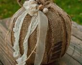 Romantic Coffee Sack Burlap Pumpkin Decor - Fall - Autumn -  Small - N&Co. Exclusive - TREASURY Item