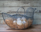 Wire Egg Gathering Basket - Hen - Includes Faux Eggs & Excelsior