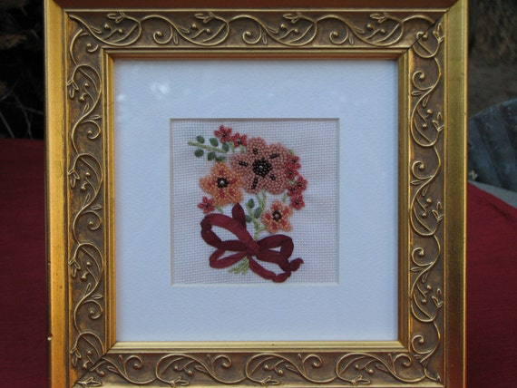 BEADED BOUQUET- MATTED - Handcrafted - Embroidered - Beaded -  Vintage Pattern - Framed Art - Bath - Boudoir - Decor