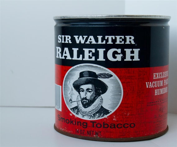 Vintage Sir Walter Raleigh Tobacco Can - Excellent Condition - Christmas Gift Container