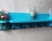 Coat Rack Shelf with Mail Holder - Coat Hooks - Mason Jar- Painted Wood Shelf