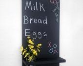Chalkboard with Shelf Jar Vase and Key Hooks
