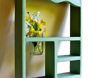 Wood Shadow Box Shelf with Jar Vase and Key Hooks Painted Wood Cubby Shelf