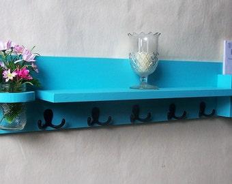 Coat Rack Shelf with Mail Holder - Coat Hooks - Mason Jar- Painted Wood Shelf