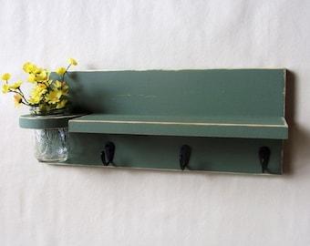 Shelf Key Hooks  Mason Jar Black Hooks Painted Wood