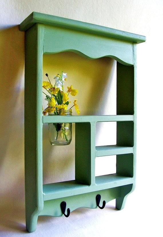 Wood Shadow Box Shelf with Jar Vase and Key Hooks Painted Wood Cubby Shelf