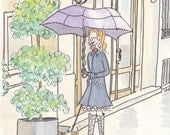 Paris Purple, Navy - Walking the Dog Rainy Reflections - giclee print of ink and watercolour illustration