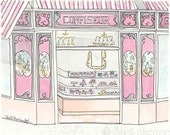 Paris Art Print - Confiseur Sweets Shop, Pink White Candy Stripes - giclee print of ink and watercolour illustration