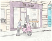 Paris Purple Cafe, Pink Scooter and Chic Girl with Kitty Cat print giclee