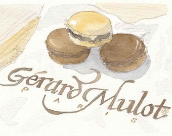 Macarons in Paris, Chocolate Macarons, Paris Macarons, watercolor illustration print