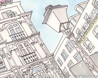 Paris illustration, Rue Victor Masse art print, paris print, paris art