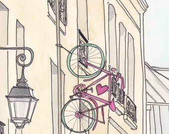 Paris Print, Paris Art, Paris Bicycle Romance art illustration print