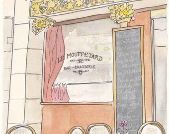 Le Mouffetard Cafe, Paris illustration, Paris print, Paris cafe, Paris art