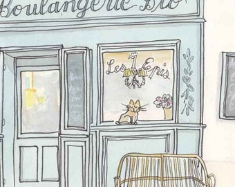 French Boulangerie Print, French Bakery Print, Provence Print, Kitchen Art, Aqua, Cream