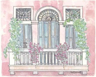 Venice Print, Venice Art, Venice Illustration, Venice Painting, Black Cat in Venice, Raspberry with Teal Shutters Flowers Black Cat, Italy