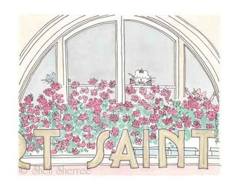 Paris Windows Print, Paris Café Saint Michel, Cat Lovers, Paris illustration, Paris Cats