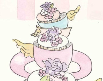 Teacup and Cupcakes Print, Pastel Teacup, Cupcakes, Sweet Art, giclee print of ink and watercolour illustration