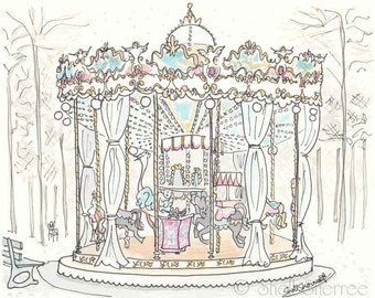 Carousel in Paris illustration - Jardins des Tuileries Carrousel - whimsical giclee print